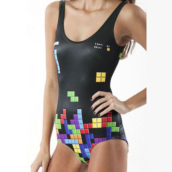 Tetris & Other Prints - Women's Fun Sexy Sporty One-Piece Swimsuit - 3-D Printed, Various Designs
