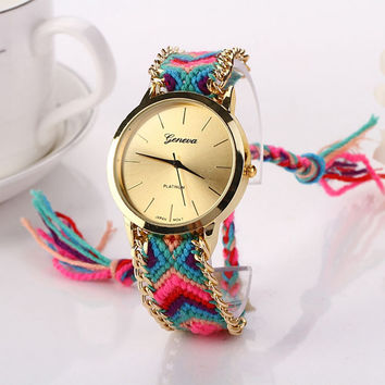 NEW Geneva Clocks women watch Fashion Knitted Weaved Rope Band Bohemian Style Unique Casual Dress Wristwatches relogios feminino
