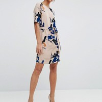 Selected Printed Dress in Brush Stroke Print at asos.com