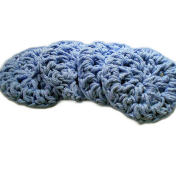 Cotton Face Scrubbies, Handmade, Eco Friendly Makeup Remover Face Cloth Set of 4, Cornflower Blue