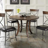 102009 Cameron 5-Piece Round Wood Base Dining Set with X Back Chairs - Free Shipping!