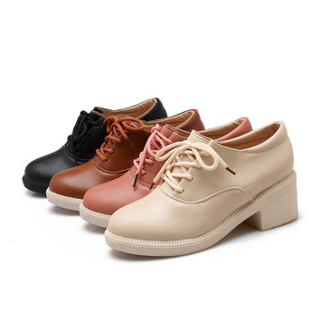 Lace Up Ankle Boots Round Toe Women Casual Shoes