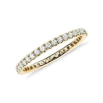 Ethically Mined 18K Yellow Gold French Pave Round Cut Diamond Full Eternity Wedding Band