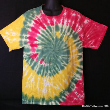 Hand Dyed Multi Splitting Color Rasta Tie Dye Shirt | Hanes or Gildan | Youth or Adult