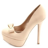 Golden Bow-Topped Platform Pumps by Charlotte Russe - Nude