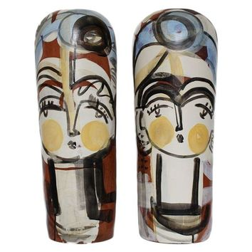 "Pre-owned ""Jug Face Pair"" by Sally King Benedict"