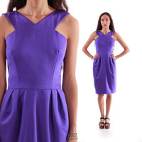 90s Victor Costa Purple Satin Midi Dress Fit and Flare Pleated Skirt 80s Vintage Designer Clothing Womens Size Large
