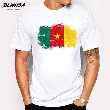 BLWHSA Newest T-shirt for Men Cameroon National Flag Nostalgic Style Prints Tshirts Men Hipster T Shirt Hip Hop Cotton Tops