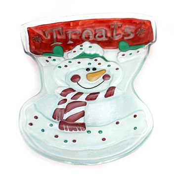 Tabletop SNOWMAN SHAPED FUSED PLATE Glass Fusion Christmas 1725420