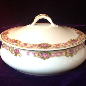 French Haviland Limoges Covered Dish with Pink, Yellow and Gold Floral Trim - Wedding/Engagement/Housewarming Gift - Luxury Tableware