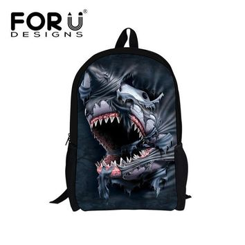 Boys Backpack Bag 3D Shark Teenagers Schoolbags for High Quality Primary School Bags Cool Cartoon Wolf Skull s mochila escolar bag AT_61_4