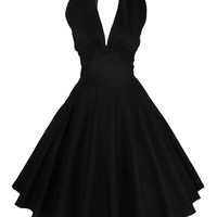Black Plunging Halterneck Bare Back Skater Dress