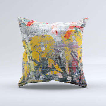 Vibrant Colored Graffiti Mixture ink-Fuzed Decorative Throw Pillow