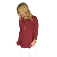 Jacquard Peplum Top In Wine