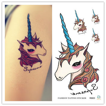 Harajuku waterproof temporary tattoos for lady women lovely cartoon Unicorn design flash tattoo sticker Free Shipping R3023