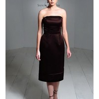 Chic Satin Strapless Tea Length A-Line Bridesmaid Dress With Natural Waist And Hem SB2162