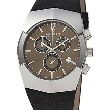 Mens Day/Date Chronograph by Skagen - Stainless Steel - Black Leather Strap