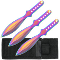 Set of 3 Rainbow Throwing Knives