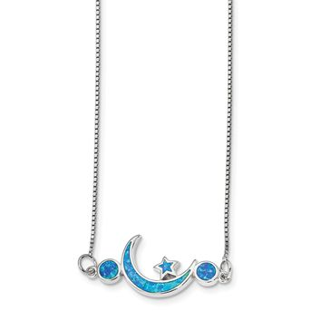 925 Sterling Silver Rhodium-Plated Imitation Opal Moon and Star Necklace 19 Inch