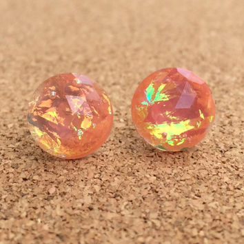 Earrings Peach Fire Opal Resin Boho Earrings 12MM Faceted Earrings