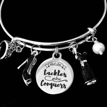 What she Tackles She Conquers Black Dress Shoes Pearl Crown Jewelry Adjustable Bracelet Silver Expandable Bangle One Size Fits All Gift