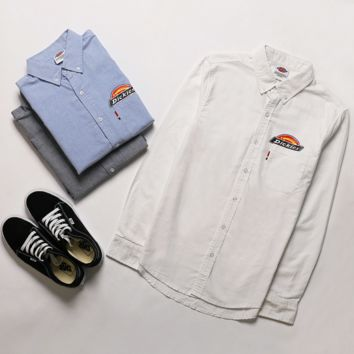 """DICKIES""long sleeve Men Oxford spinning pure color shirt white"