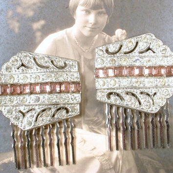 PAIR Original Art Deco Amethyst Purple Hair Combs 1920s 1930s Pave Rhinestone Dress Clips to Bridal Hairpiece Accessory Great Gatsby Wedding