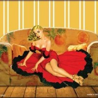 Pin Up Woman in Red Copy of Vintage Ad