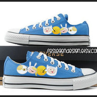 Fionna and Cake and Finn and Jake Painted Shoes 'Custom Converse' / Adventure Time