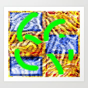 Collage with weave effect Art Print by Ellen Turner