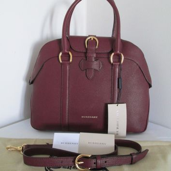 Nwt Burberry Women's Medium Milverton Bowling Dark Red Leather Bag.
