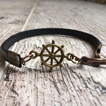 Men's Leather Bracelet, Men's Anchor Bracelet, Men's Nautical Bracelet Cuff, Wrap Bracelet Men, Anniversary Gift Boyfriend, Sailing Bracelet
