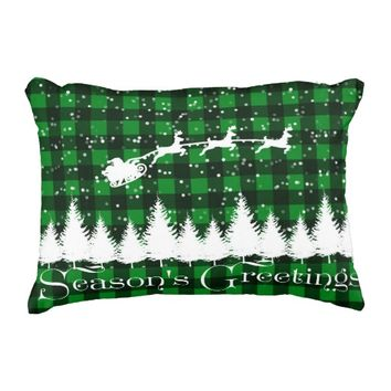 Santa's Christmas Sleigh Green Decorative Pillow
