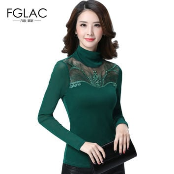 Spring and Autumn women lace tops Fashion Casual Long sleeved Women blouse shirt Turtleneck Diamonds lace shirt plus size blusas