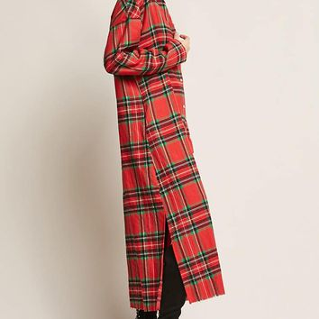 Longline Plaid Jacket