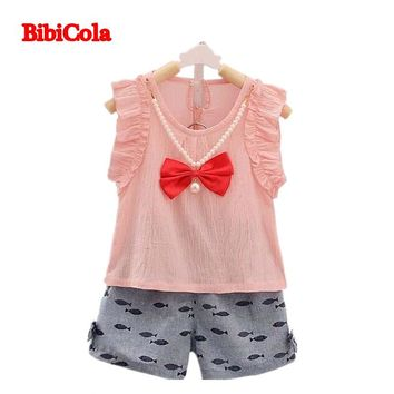 BibiCola summer baby girls clothing set kids top vest +shorts 2pcs outfits children cartoon print summer tracksuit clothes set