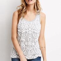 Embroidered Overlay Heathered Tank Top