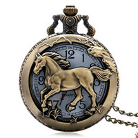 Pocket Watch  Bronze Copper Horse Hollow Quartz Watch Clock Hour Fob With Chain Pendant Womens Men Xmas GIfts P907