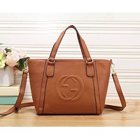GUCCI Fashion New Leather Women Men Shopping Leisure Shoulder Bag Handbag Brown