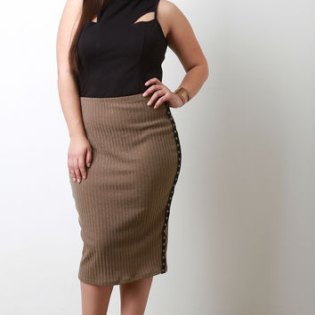 Snap Button Side Ribbed Midi Skirt
