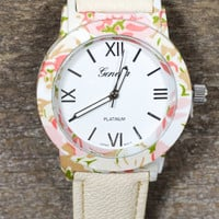 Floral Time Watch in Ivory