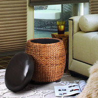 Round Storage Ottoman / Stool with Bulrush Body & Black Eco Leather Lid