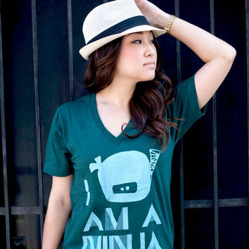 I Am A Ninja VNeck Tee  Forest / Light Blue  Unisex by steppie