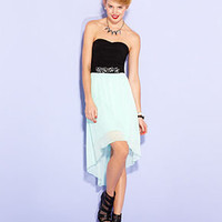 Ruby Rox Juniors Dress, Strapless Colorblock High-Low - Juniors Dresses - Macy's