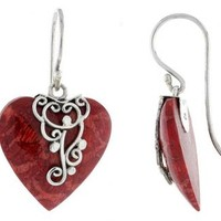 Sterling Silver Heart Natural Red Coral Earrings