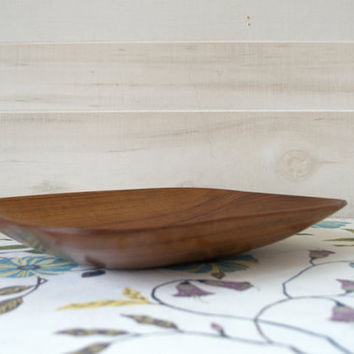 Rustic Wood Bowl, Mid Century Teak Bowl, Square Monkey Pod Bowl, Oblong Wooden Bowl