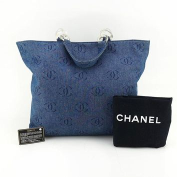 CHANEL AUTH Vintage Denim Blue CC Logo Quilted Cabas Shoulder Tote Bag Handbags