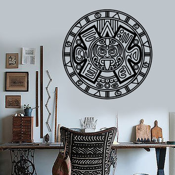 Vinyl Wall Decal Aztec Mayan Ancient Calendar Amulet Stickers Unique Gift (1448ig)