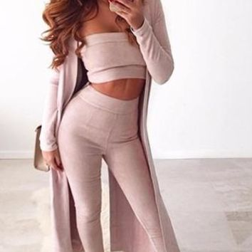 Couple Goals Pink Strapless Faux Suede Crop Top Legging Two Piece Set