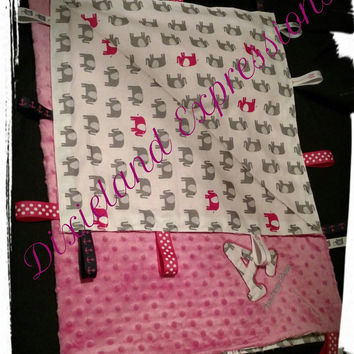 #Pink Minky Dot & Elephant Initial Blanket With Ribbon Tags